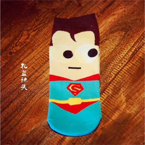 Hot sale! men socks cotton superman spiderman captain america avenge men's black shot sock colorful funny cartoon sock -  7accessories.com