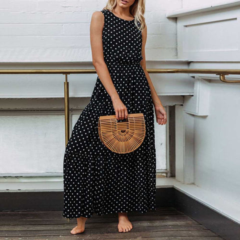 Summer Midi Women Dress 2019  O Neck Sleeveless Dot A Line Casual -  7accessories.com
