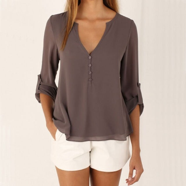 Women Blouse & shirt long sleeve chiffon blouse -  7accessories.com