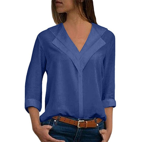Women blouses solid long sleeve girl shirts Fashion -  7accessories.com