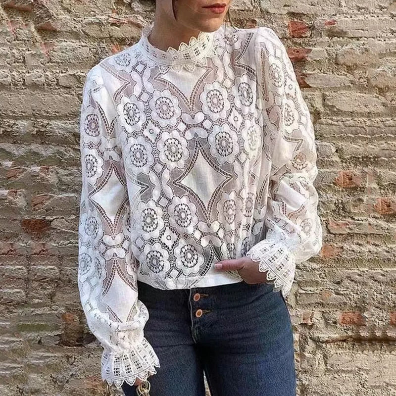Oversize Lace Blouse Shirt 2019 Ladies Loose Shirts Lovely Girls Sweet Short Blouse -  7accessories.com