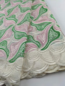 Green, Pink & Creme Cotton Lace