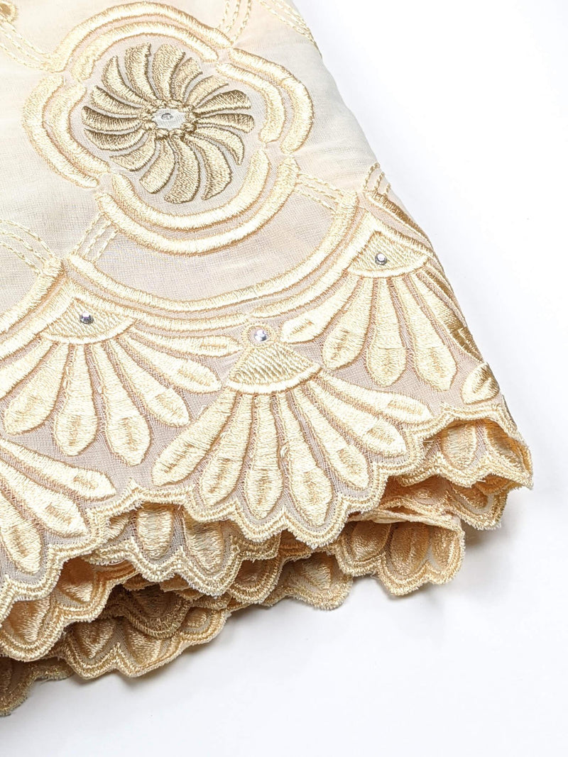 Peach Gold Voile Lace