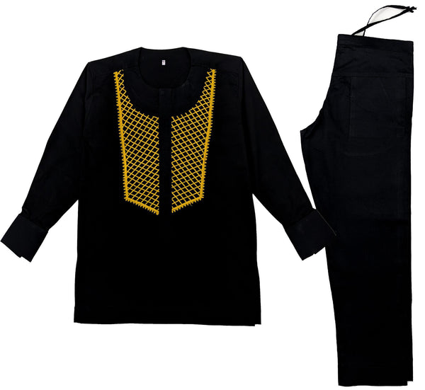 Black & Gold Men Embroidery Long Sleeve Set
