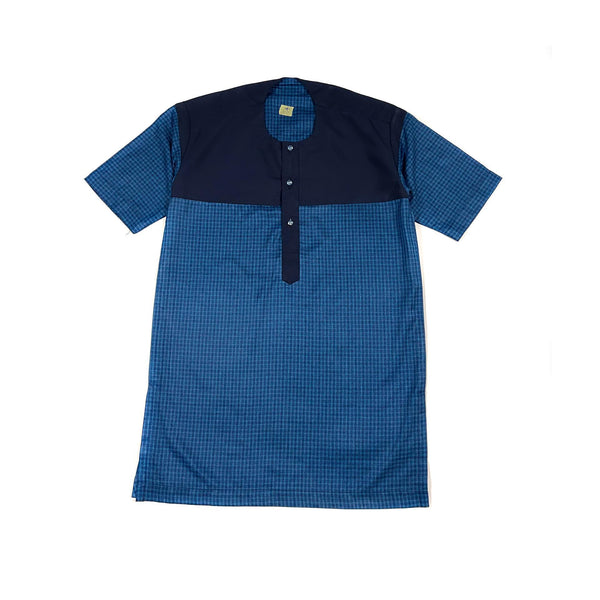 Blue Short Sleeve Linen Set
