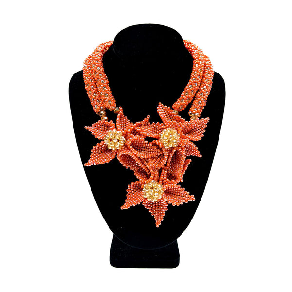 Peach Petal Flower Beaded Neckpiece Set