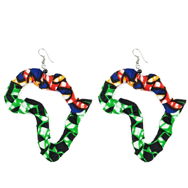 Handmade Kitenge Map of Africa Earrings