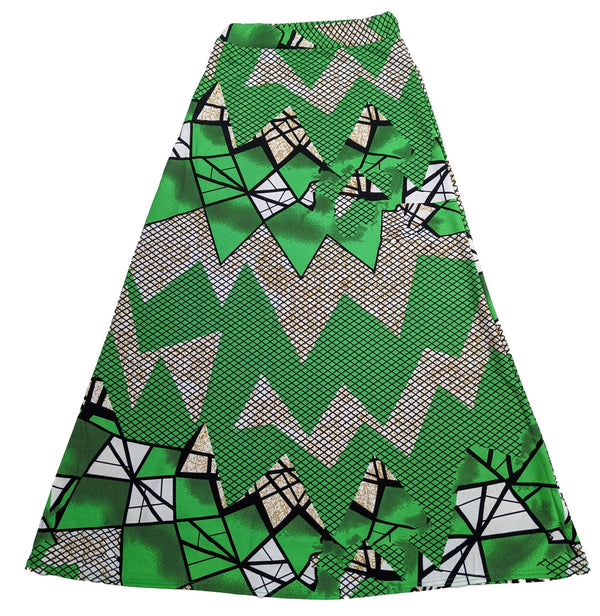 Green & White Long Skirt