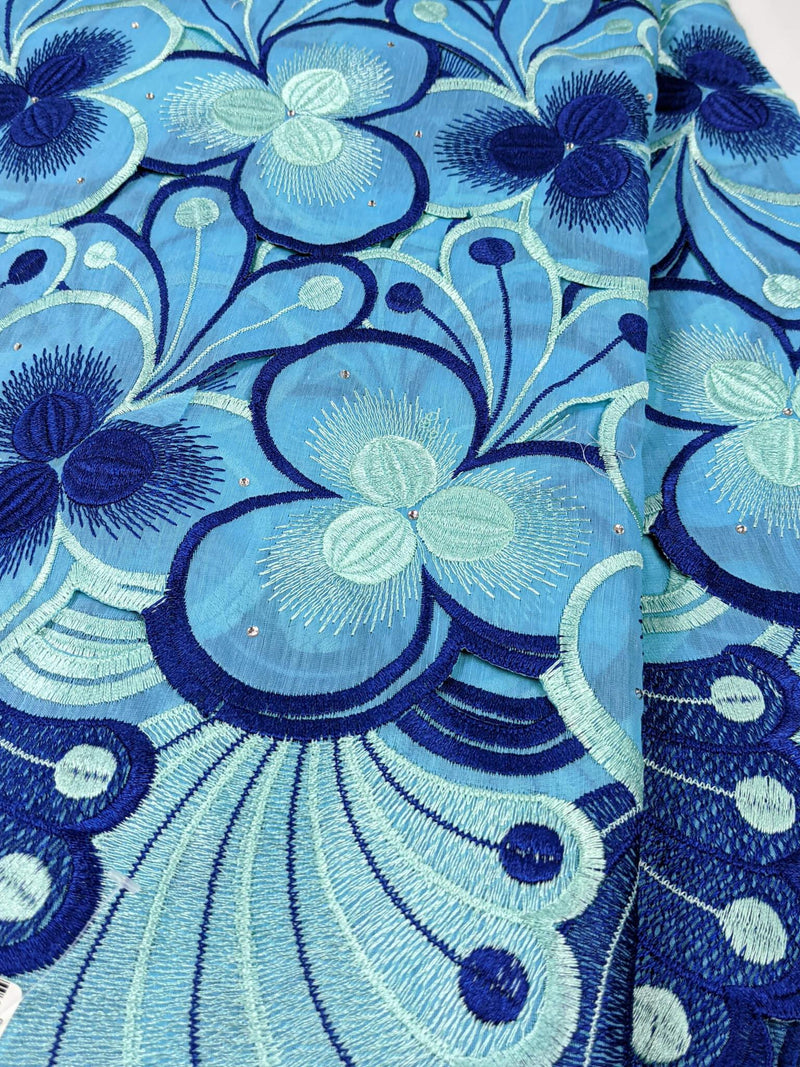 Blue Embroidery Cotton Lace