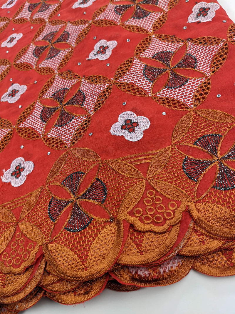 Multicolored Orange Cotton Lace