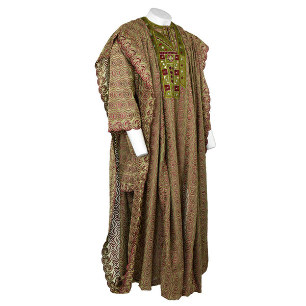 Green & Wine Lace Agbada 3pc Set