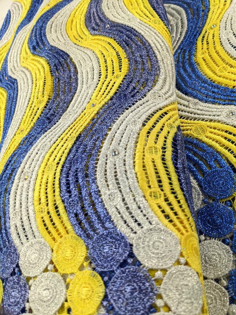 Blue, Silver & Yellow Cord Cotton Lace