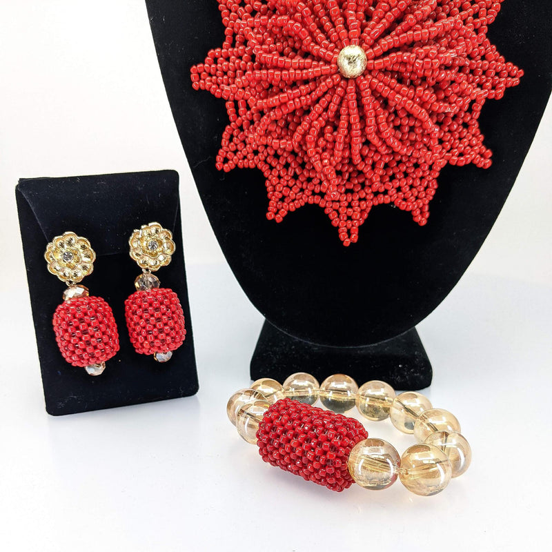 Red And Gold Leaf Beaded Jewelry