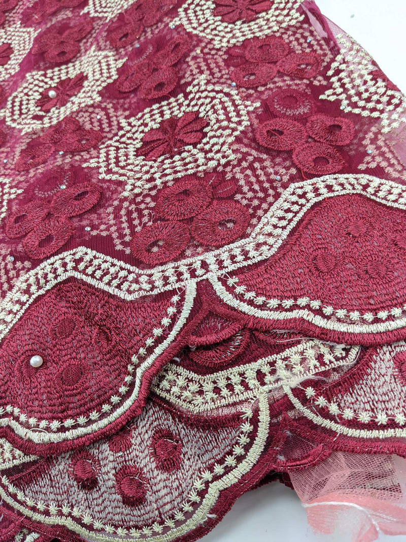 Wine & Gold French Net Lace