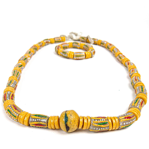Ghanaian Krobo Bead Necklace and Bracelet
