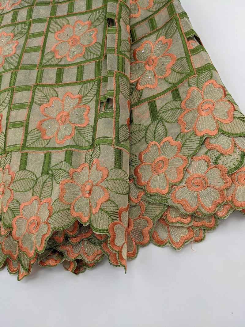 Green & Orange Organza Lace