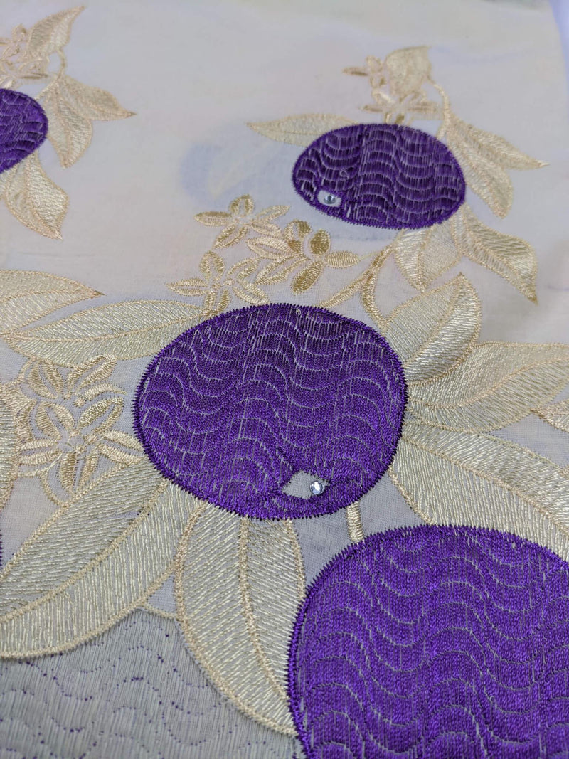 Gold And Purple Cotton Lace
