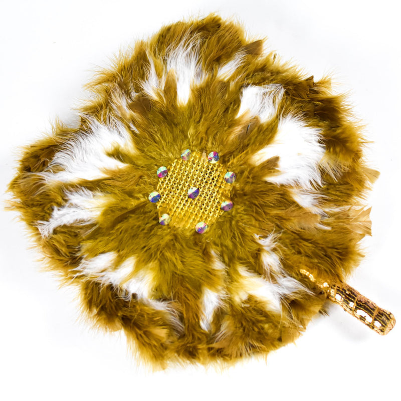 Gold & White Traditional Wedding Hand Fan