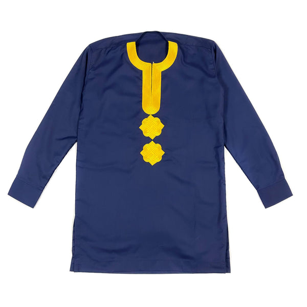 Blue & Gold Long Sleeve Linen Set