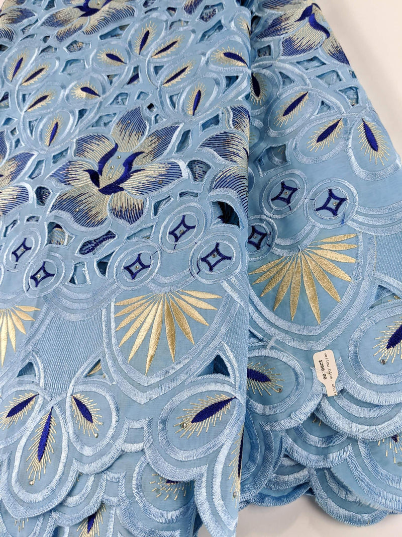 Shades Blue & Gold  Handcut Cotton Lace