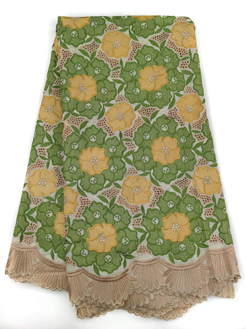 Green & Gold  Voile Cotton Lace