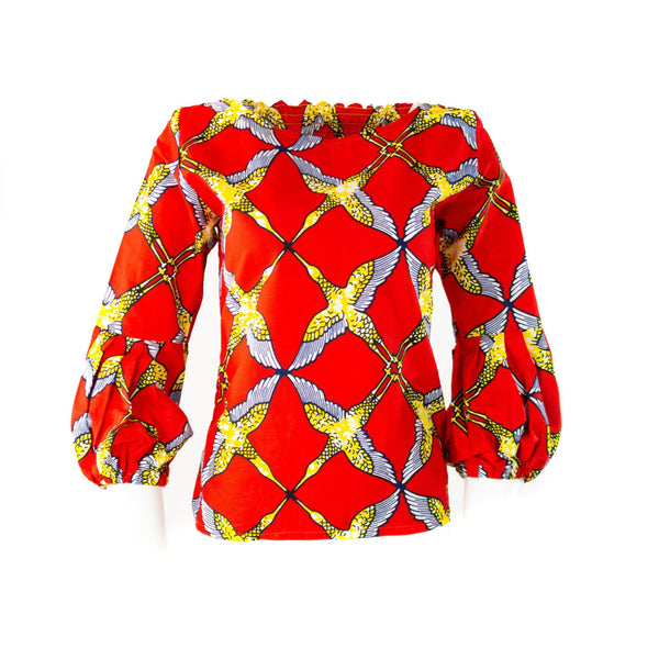 Off-Shoulder Ankara Top