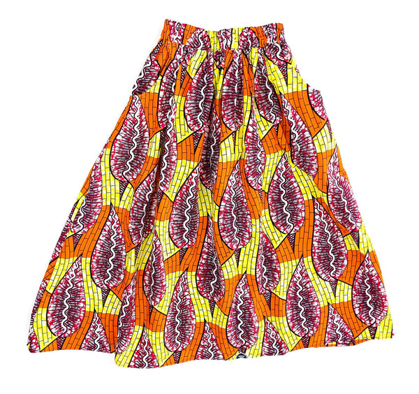 Handmade Orange Multi Ankara Print Midi Skirt