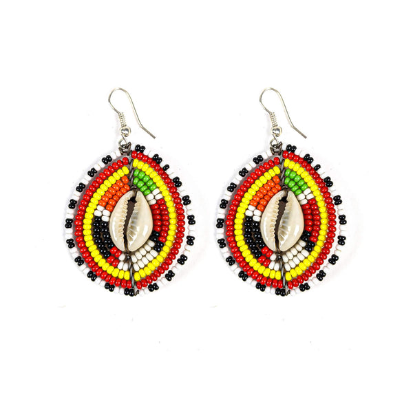 Maasai Beaded Earrings w/Cowrie Shell