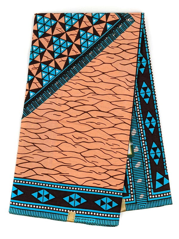 Blue and Peach Ankara Wax Print