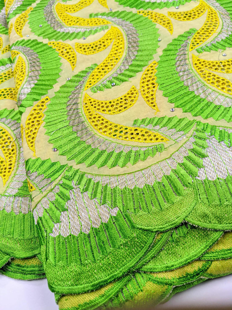 Yellow Silver & Green Cotton Swiss Lace