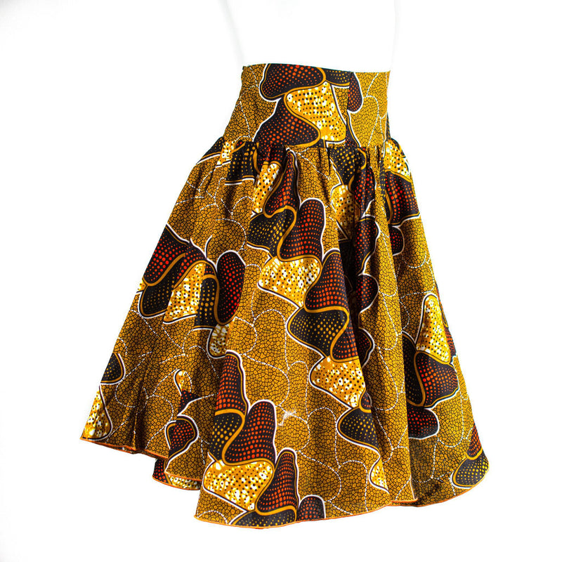 Yellow & Red Ankara Wax Skirt