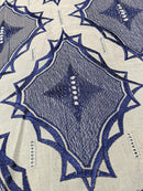Blue & Grey Swiss Voile Lace