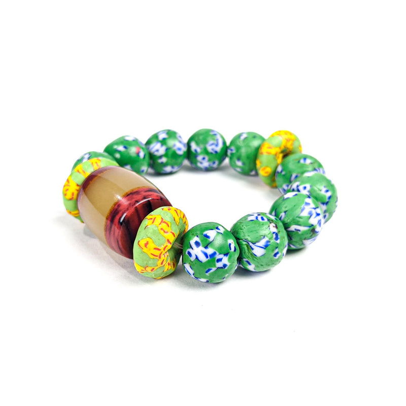 Green (Krobo Beads) Recycled Glass Bead Bracelet