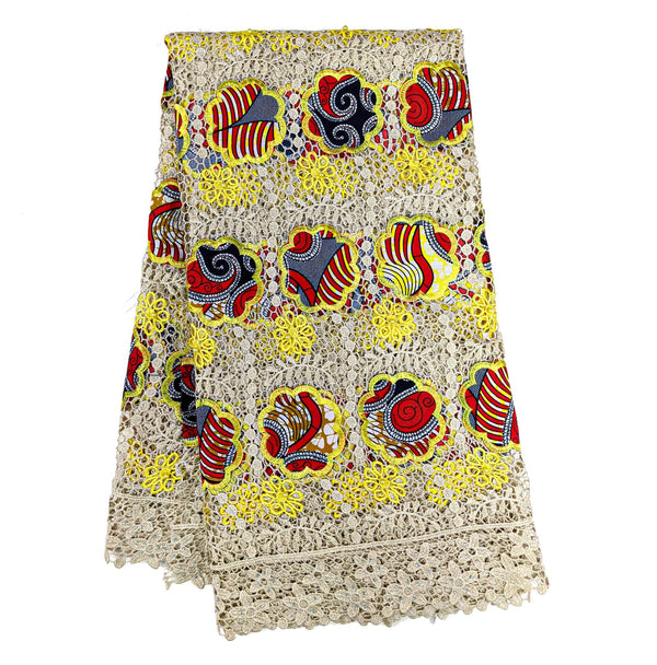 Yellow & Red African Wax with Cord Lace Fabric - 5 yards