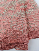 Peach & Gold French Net Lace