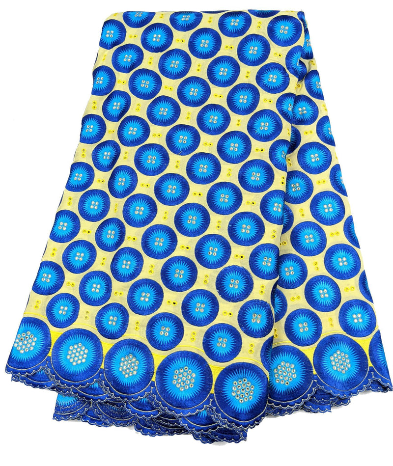Yellow & Blue Unique Cotton Lace