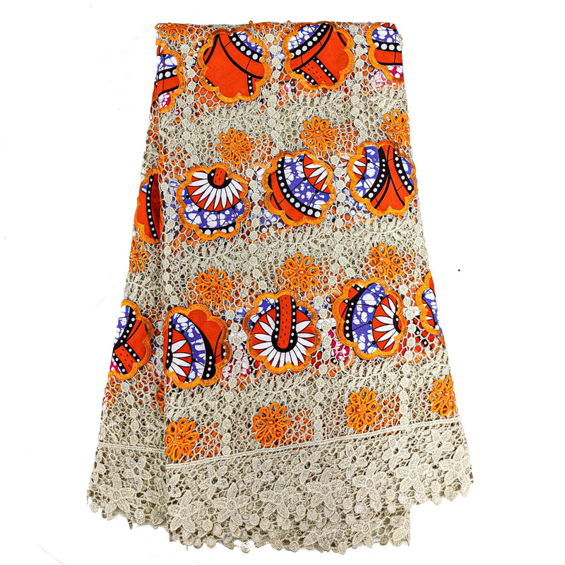 Orange African Wax with Cord Lace Fabric - 5 yards