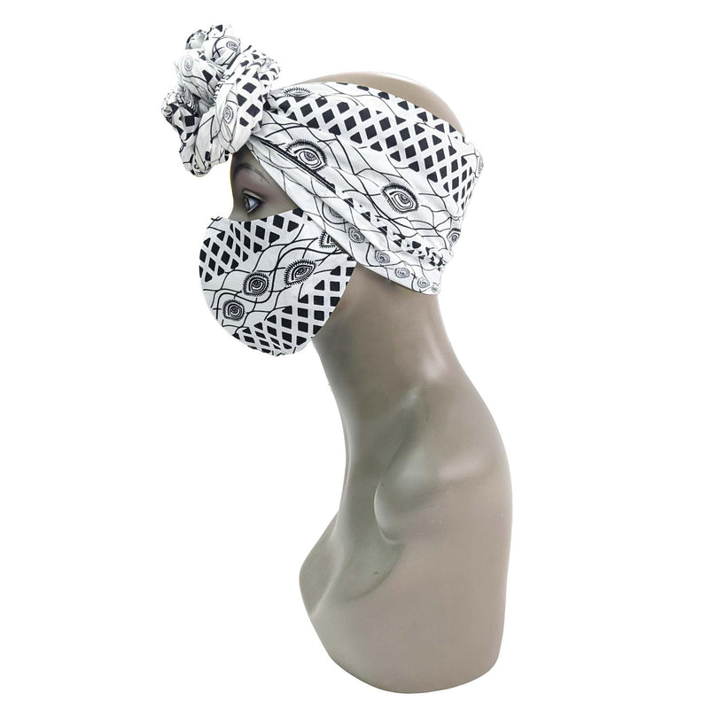 White & Black Handmade Ankara Cloth Face Mask with 2 Disposable Filters