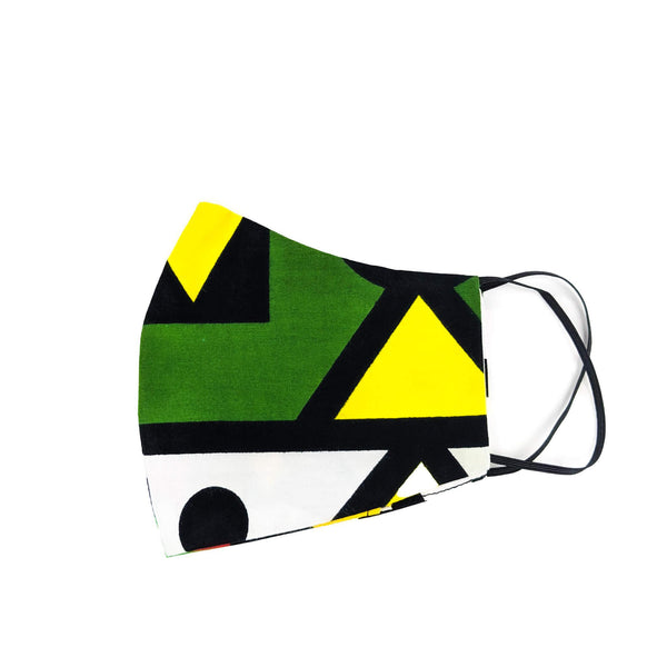 Green and Yellow Face Mask - African Patterns