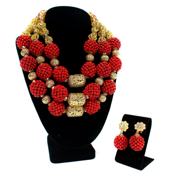 3 Step Red Beaded Necklace