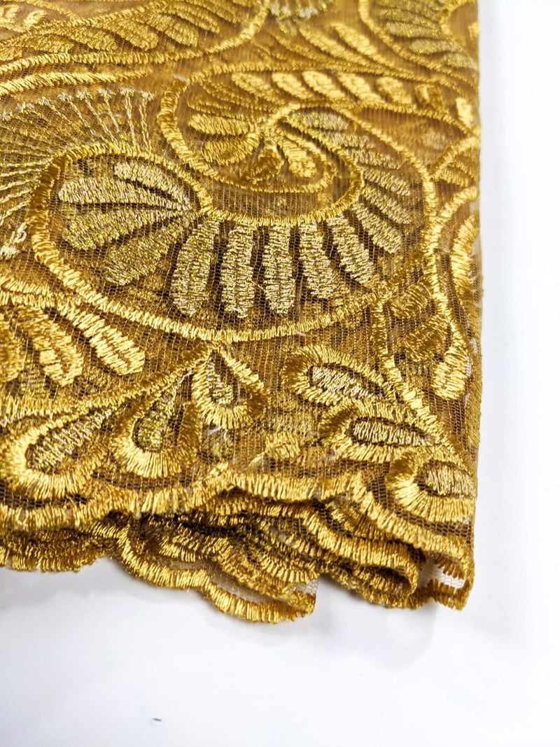 Gold Flowery French  Lace