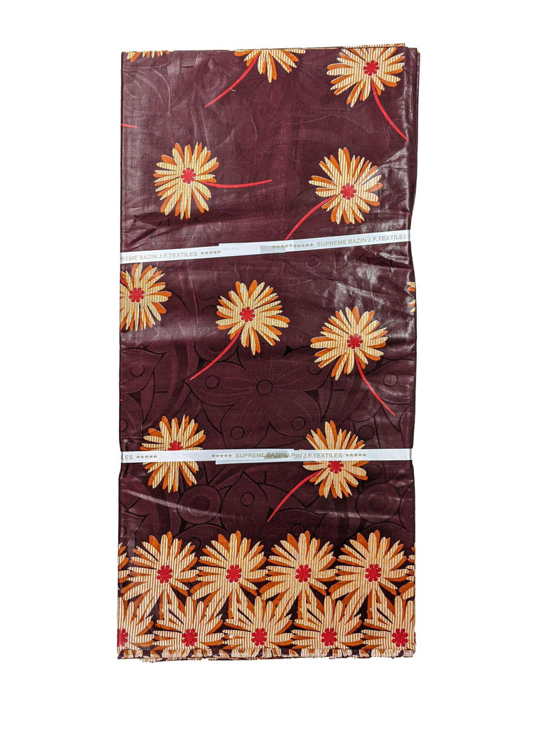 Brown & Red Petal Bazin J.F Textiles