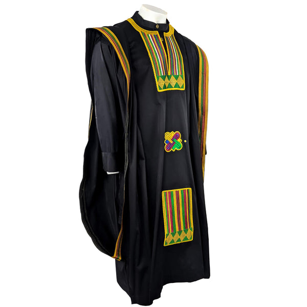 Black Kente Agbada 3pc Set