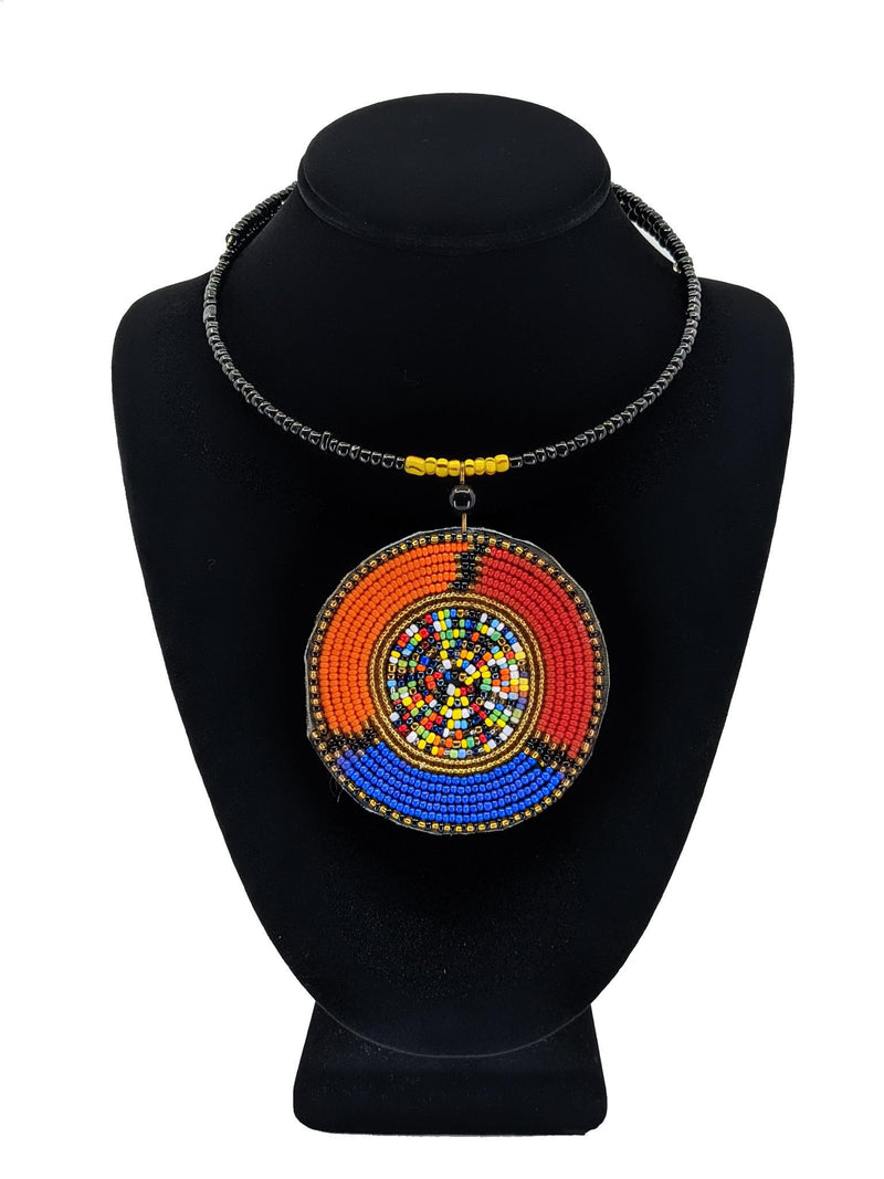 Tri Color Massai  2pcs Pendant Necklace Set
