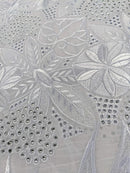 White & Silver Cotton Lace