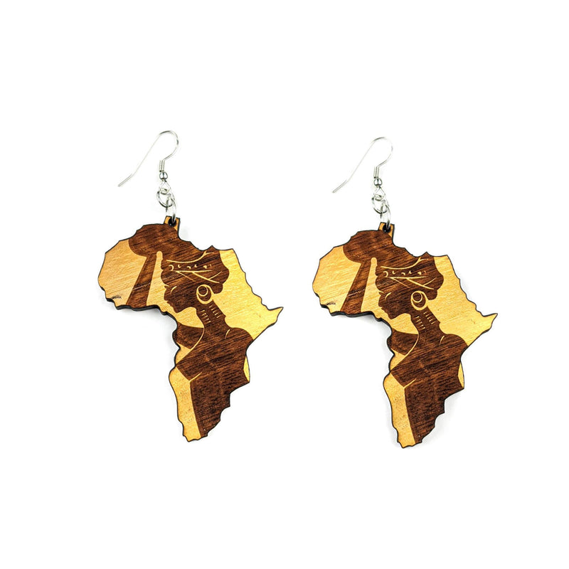 Handmade Wooden Africa Earrings
