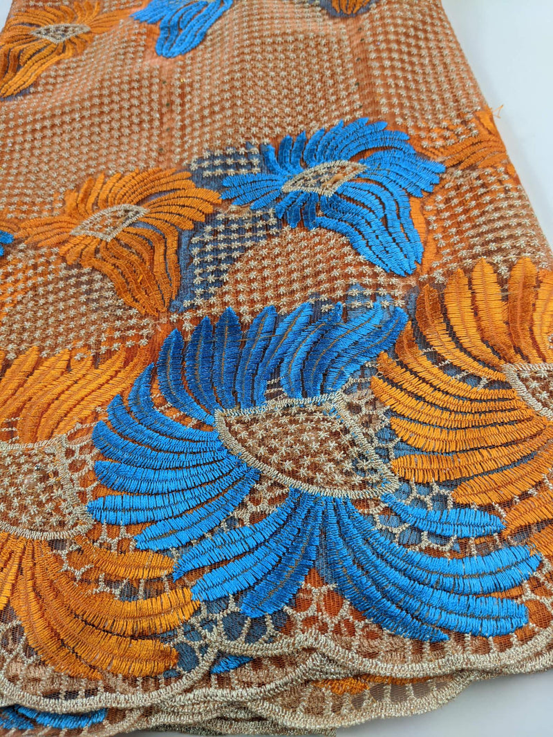 Orange, Blue & Gold French Net Lace