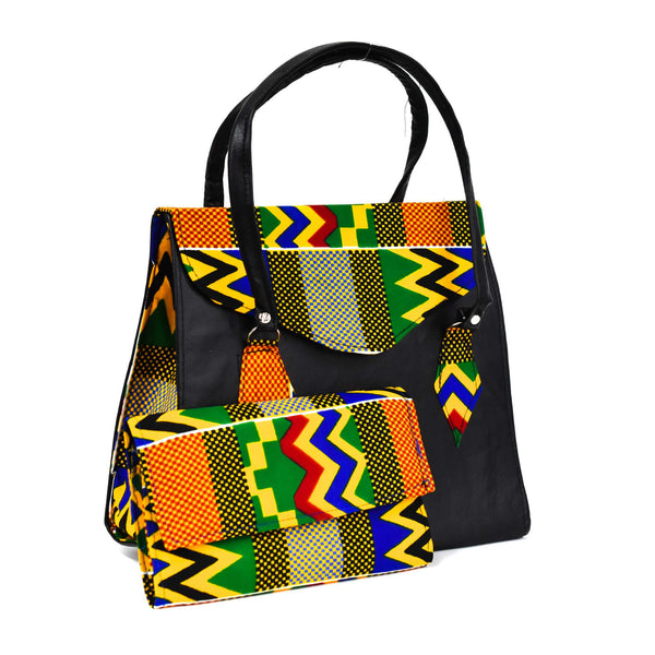Black Kente Bag Set