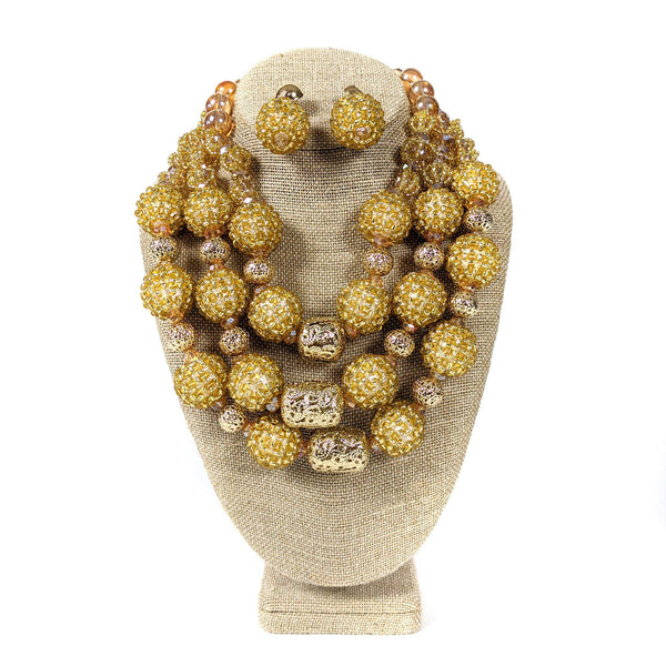 3 Step Gold Beaded Necklace
