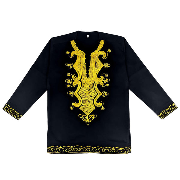 Men's Black & Gold Embroidery Long Sleeve Top